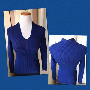 Royal Blue Ribbed Sweater Top